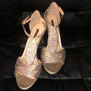 Beautiful gold rhinestone heels